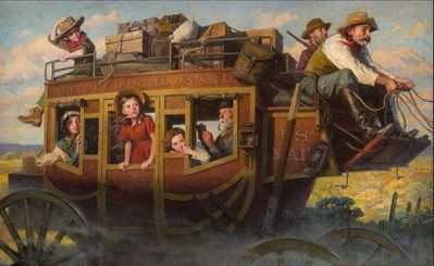 """Morgan Weistling Artist Signed Limited Edition Giclee on Paper Print:""""Stagecoach Journey, The"""""""