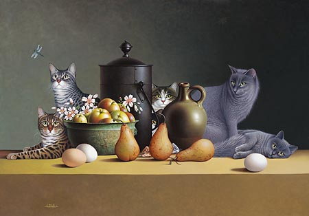 """Braldt Bralds Handsigned & Numbered Limited Edition Print:""""Stilll Life with Three Eggs and Four Pears """""""