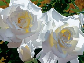 "Brian Davis Hand Signed and Numbered Limited Edition Canvas Giclee:""White Roses Aglow II"""