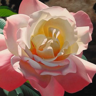 """Brian Davis Handsigned and Numbered Limited Edition Giclee on Canvas:""""Heavenly Pink Rose"""""""