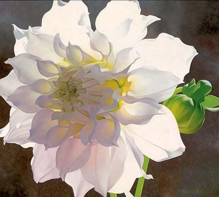 """Brian Davis Handsigned and Numbered Limited Edition Giclee on Canvas:""""Pale Pink Dahlia"""""""