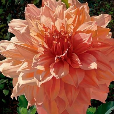 """Brian Davis Handsigned and Numbered Limited Edition Giclee on Canvas:""""Singing Orange Dahlia"""""""