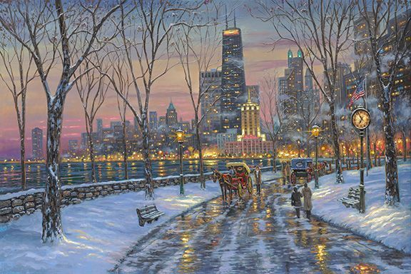 "Robert Finale Artist Signed Limited Edition Hand-Embellished Canvas Giclee:""Chicago Skyline"""