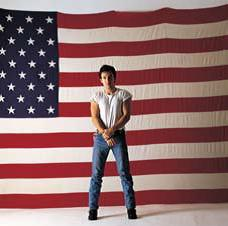 "Bruce Springstreen Rock Album Cover Art on Stretched Archival Canvas: ""American Flag """