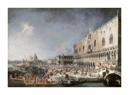 """Canaletto Fine Art Open Edition Giclée:""""Reception of French Ambassador in Venice"""""""