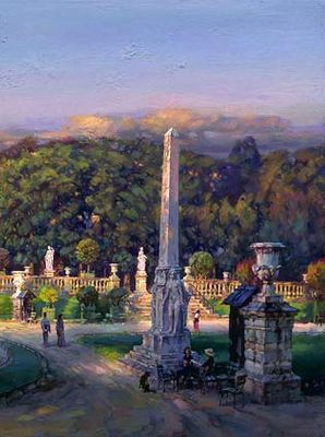 """Cao Yong Limited Edition Essence Collection Archival Print on Canvas :""""Peaceful Moment -The Luxembourg Garden III: Peaceful Moment """""""