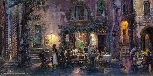 """Cao Yong Limited Edition Hand Embellished (H/E) Archival Print on Canvas :""""Pretty Life in Monterosso"""""""