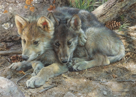 """Carl Brenders  Hand Signed and Numbered Limited Edition Print and Canvas Giclee:""""Brotherly Love - Wolf Pups"""""""