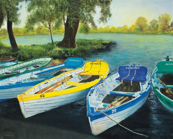 "Carol Coles Limited Edition Museum Quality Giclée: ""Boats on the Meare"""