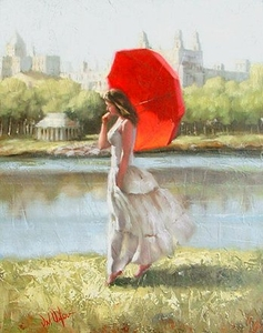 "Daniel Del Orfano Limited Edition Hand Embellished Giclee on Canvas:""Central Park Serenity "" - Click to enlarge"