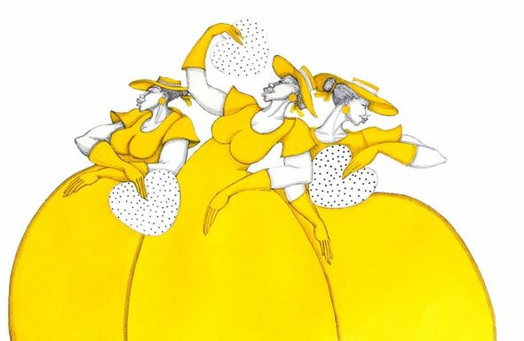 """Charles Bibb Hand Signed and Numbered Limited Edition Giclee on Paper:""""Polka Dot Fans"""""""