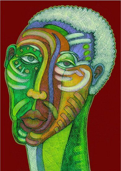 """Charles Bibbs Hand Signed Acrylic and Ink on Canvas:""""Man in Love"""""""