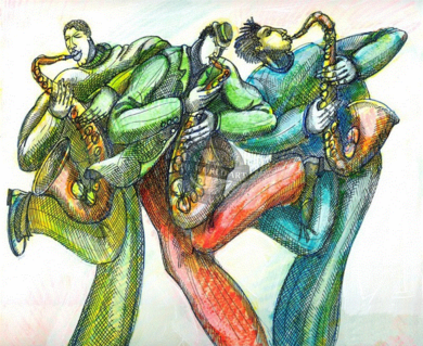"""Charles Bibbs Hand Signed and Numbered Limited Edition: """"Blow Sax"""""""