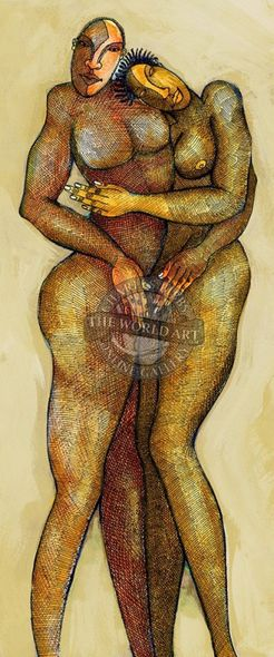 "Charles Bibbs Hand Signed and Numbered Limited Edition: ""Bronze Lovers"""