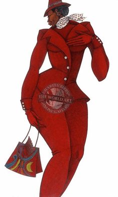 """Charles Bibbs Hand Signed and Numbered Limited Edition: """"Ebony In Red"""""""