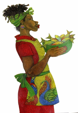 """Charles Bibbs Hand Signed and Numbered Limited Edition Giclee Print: """"Fish Day"""""""