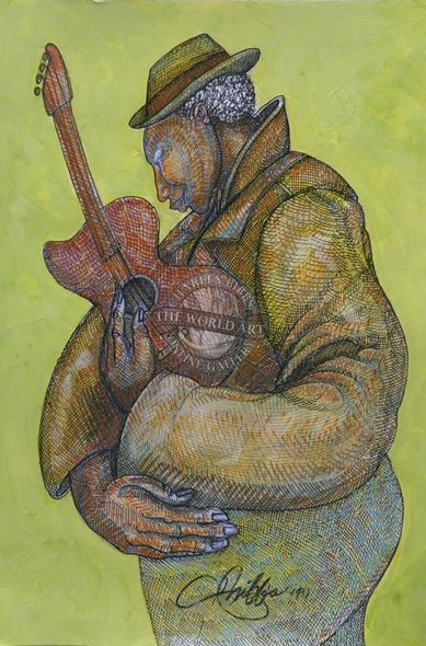 """Charles Bibbs Hand Signed and Numbered Limited Edition:""""Geetar Man 1"""""""