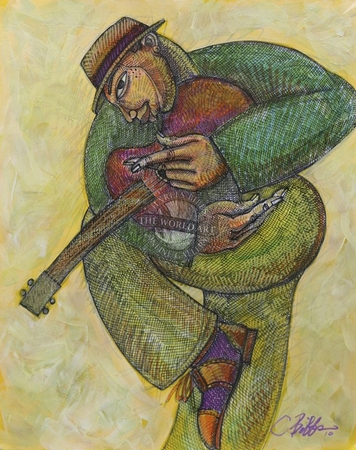 """Charles Bibbs Hand Signed and Numbered Limited Edition: """"Geetar Man 2"""""""