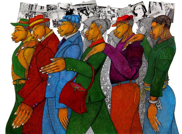 "Charles Bibbs Hand Signed and Numbered Limited Edition Giclee:""Marching in the Spirit"""