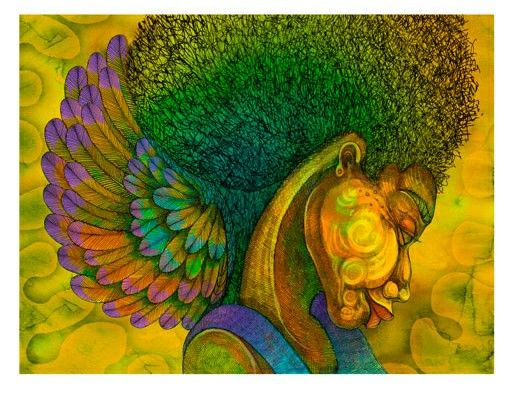 """Charles Bibbs Hand Signed and Numbered Limited Edition Giclee Print:""""Afro Angel"""""""