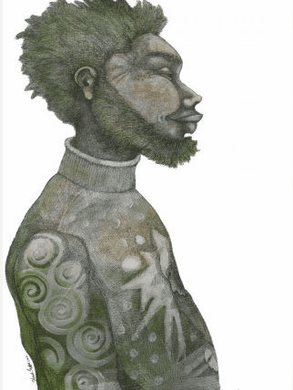 "Charles Bibbs Hand Signed and Numbered Limited Edition:""Man With Green Hair"""