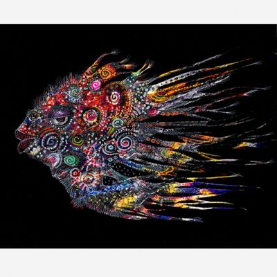 """Charles Bibbs Hand Signed and Numbered Limited Edition: """"Mask #4 (Fish) Collaboration"""""""