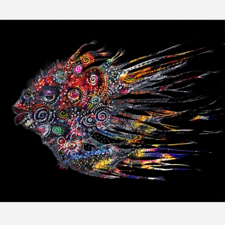 "Charles Bibbs Hand Signed and Numbered Limited Edition: ""Mask #4 (Fish) Collaboration"""