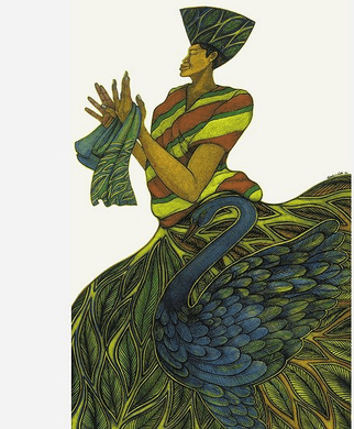 "Charles Bibbs Hand Signed and Numbered Limited Edition Mixed Media Lithograph:""Silk Maiden"""
