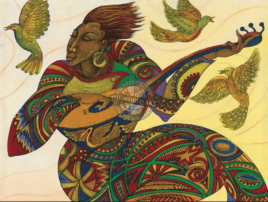 """Charles Bibbs Hand Signed and Numbered Limited Edition: """"Music Maker 3"""""""