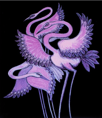 """Charles Bibbs Hand Signed and Numbered Limited Edition: """"Purple Long Leg Birds"""""""