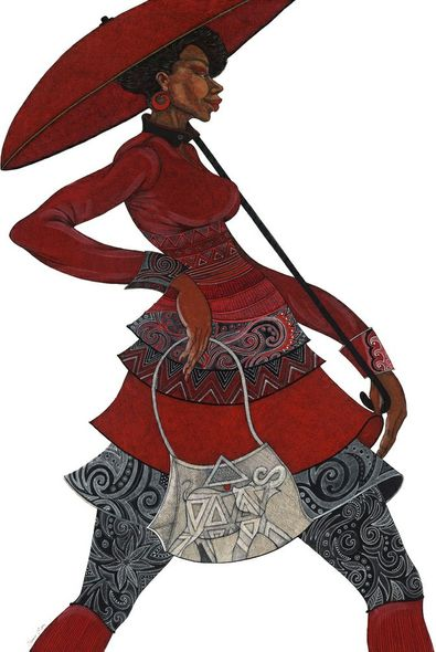 """Charles Bibbs Hand Signed and Numbered Limited Edition:""""Red Umbrella II"""""""