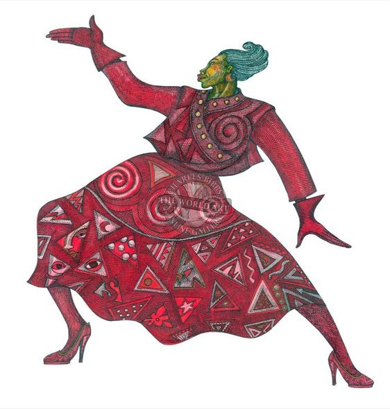 """Charles Bibbs Hand Signed and Numbered Limited Edition:""""Rhythm In Red"""""""