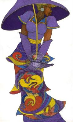 "Charles Bibbs Hand Signed and Numbered Limited Edition: ""The Purple Umbrella"""