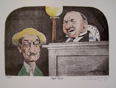 "Charles Bragg Hand Signed Color Lithograph:""Night Court"""
