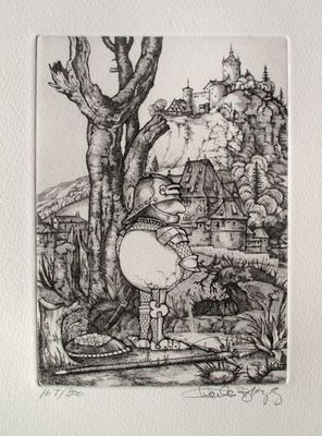 """Charles Bragg Hand Signed Limited Edition Etching:""""Pissing Camelot Series"""""""