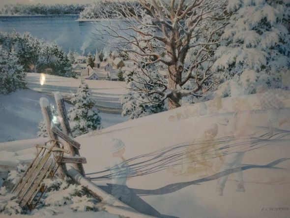 "CHARLES PETERSON 26X19 Secondary Market Art: ""SLEDDING HILL CE"""