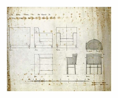 """Charles Rennie Mackintosh Fine Art Open Edition Giclée:""""Designs for an Upholstered Chair, 1909"""""""