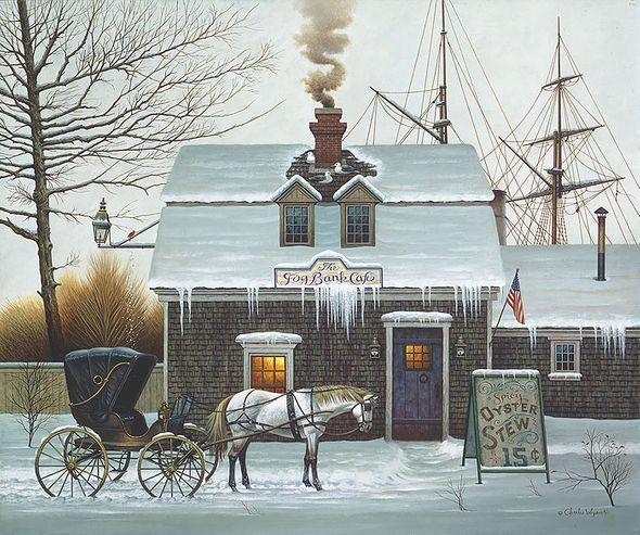 "Charles Wysocki Anniversary Fine Art Open Edition Giclée Canvas:""Belly Warmers"""