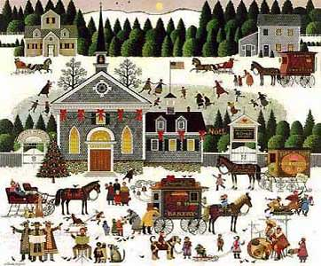 """Charles Wysocki Artist Handsigned and Numbered Legacy Limited Edition: """"Churchyard Christmas"""""""
