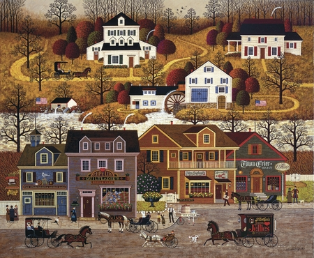 "Charles Wysocki Handsigned and Numbered Limited Edition Legacy Edition: ""Hawk River Hollow"""