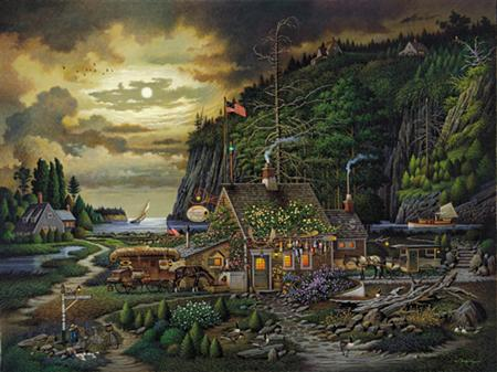 """Charles Wysocki Handsigned & Numbered Limited Edition:""""Moonlight and Roses in Olde Maine"""""""