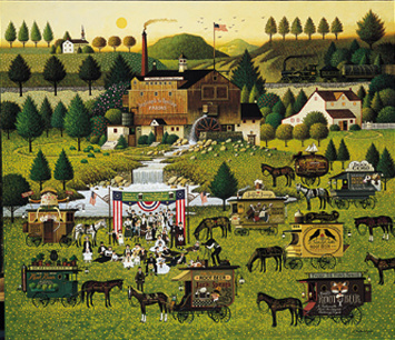 "Charles Wysocki Limited Edition Print: ""Rally at Dandelion Mill"""