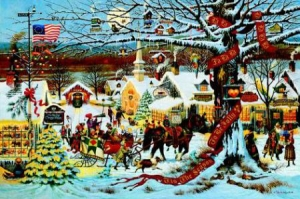 "Charles Wysocki Limited Edition Print: ""Small Town Christmas"""
