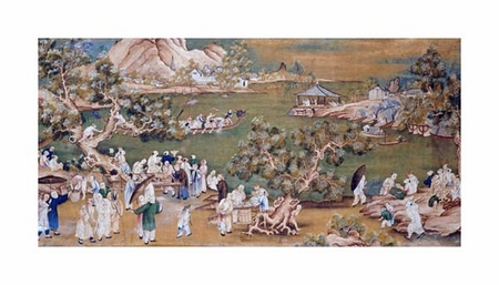 "Chinese School Fine Art Open Edition Giclée:""A Lake Scene with Figures Celebrating a Festival"""