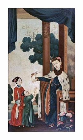 """Chinese School Fine Art Open Edition Giclée:""""A Mandarin's Wife with Their Two Daughters"""""""