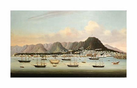 """Chinese School Fine Art Open Edition Giclée:""""A View of Victoria, Hong Kong, with the Hulk H.M.S Princess Charlotte"""""""