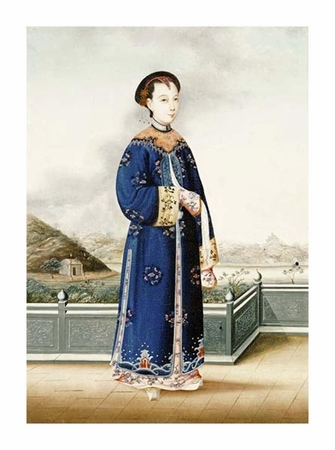 """Chinese School Fine Art Open Edition Giclée:""""An Elegantly Dressed Chinese Hong Merchant's Wife"""""""