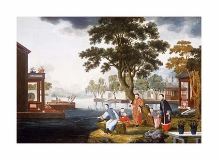 "Chinese School Fine Art Open Edition Giclée:""Summer: a Family Fishing by a Lake"""