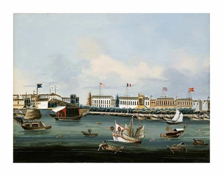 """Chinese School Fine Art Open Edition Giclée:""""View of the Waterfront at Canton"""""""