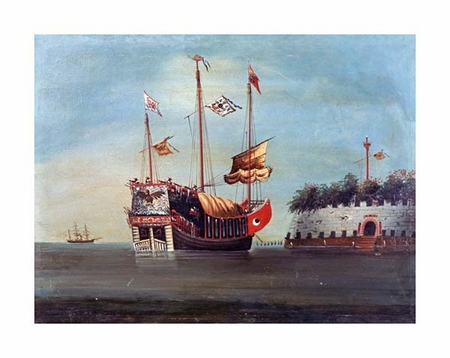 "Chinese School Fine Art Open Edition Giclée:""War Junks off Folly Forts in the South China Sea"""